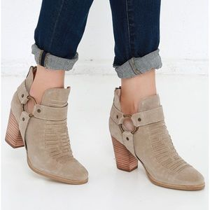 Seychelles Impossible Sand Suede Ankle Booties 6.5